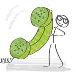 Strichmännchen mit Telefonhörer, Kontakt und Impressum