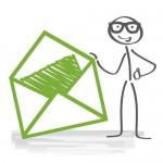 Strichmännchen mit Brief für Briefkästen